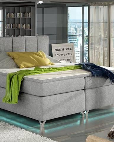 Barino 160 čalúnená manželská posteľ s úložným priestorom svetlosivá