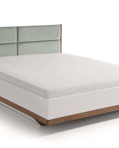 Como CM-4 140 manželská posteľ s osvetlením biely vysoký lesk