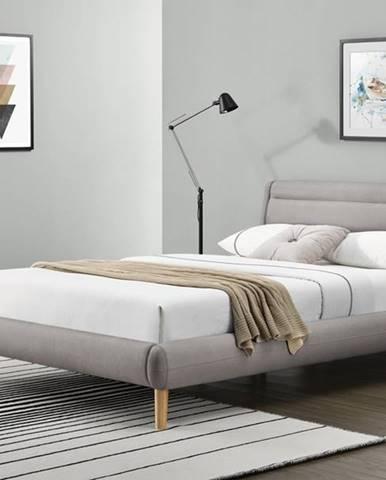 Elanda 160 čalúnená manželská posteľ s roštom svetlosivá