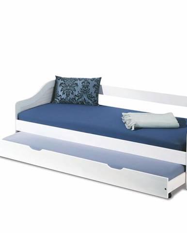 Leonie 2 90 rozkladacia posteľ s prístelkou biely lesk