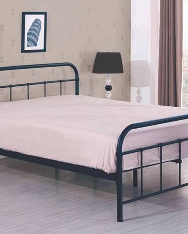 Linda 90 kovová jednolôžková posteľ s roštom čierna