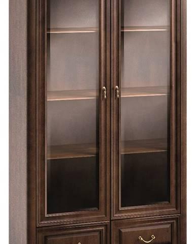 Verona V-W2 rustikálna vitrína s osvetlením hnedá