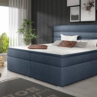 Spezia 180 čalúnená manželská posteľ s úložným priestorom modrá
