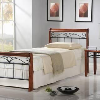 Veronica 90 kovová jednolôžková posteľ s roštom čerešňa antická