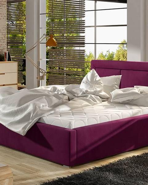 NABBI Branco UP 160 čalúnená manželská posteľ s roštom vínová