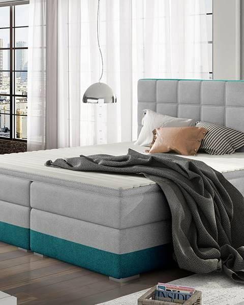 NABBI Dalino 140 čalúnená manželská posteľ s úložným priestorom svetlosivá