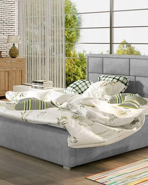 NABBI Liza 200 čalúnená manželská posteľ s roštom svetlosivá (Paros 05)