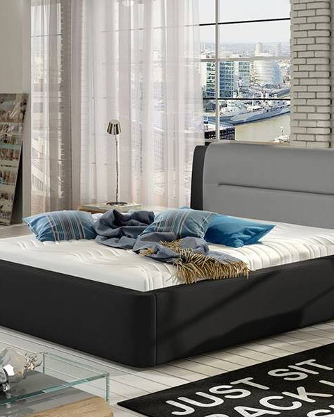 NABBI Portima 140 čalúnená manželská posteľ čierna