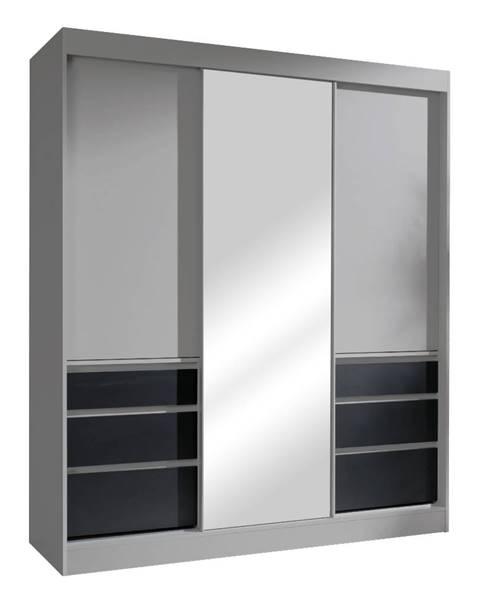 Tempo Kondela Romualda 180 šatníková skriňa s posuvnými dverami a zrkadlom sivá