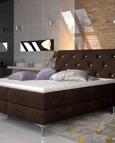 Amika 140 čalúnená manželská posteľ s úložným priestorom tmavohnedá