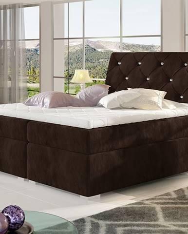 Beneto 160 čalúnená manželská posteľ s úložným priestorom tmavohnedá