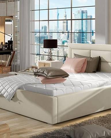 Rovigo 140 čalúnená manželská posteľ s roštom béžová
