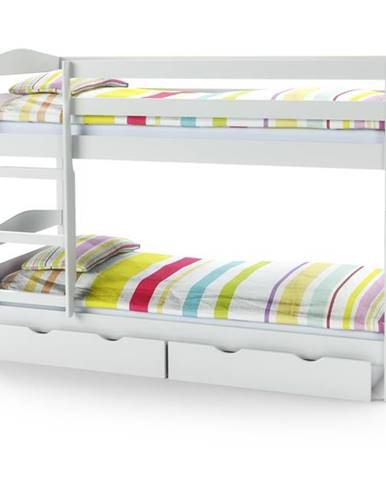Sam 80 drevená poschodová posteľ s roštami a matracmi biela