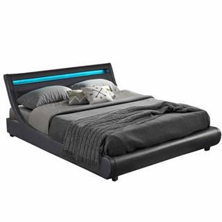 Felina manželská posteľ s roštom a osvetlením čierna