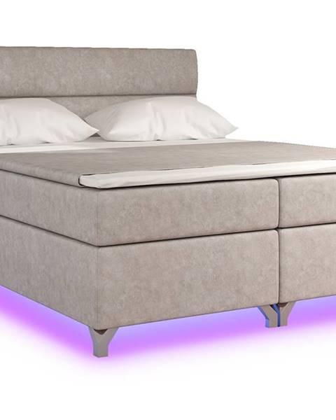NABBI Avellino 180 čalúnená manželská posteľ s úložným priestorom béžová (Dora 21)