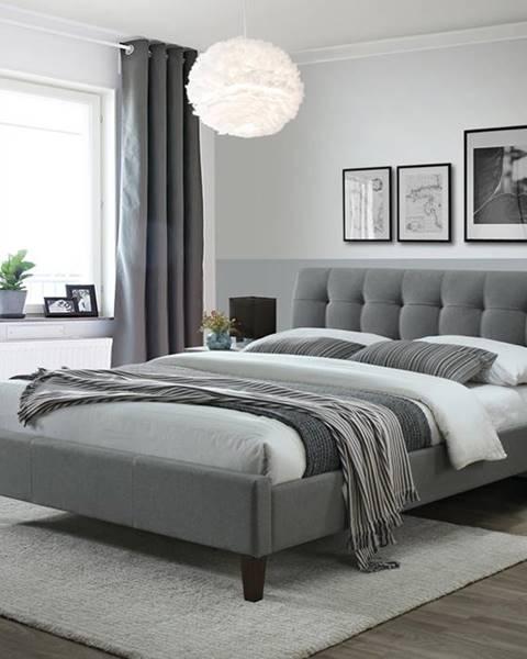 Halmar Samara 2 160 čalúnená manželská posteľ s roštom sivá