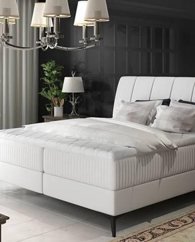 Altama 140 čalúnená manželská posteľ s úložným priestorom biela