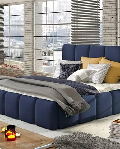 Evora 160 čalúnená manželská posteľ tmavomodrá