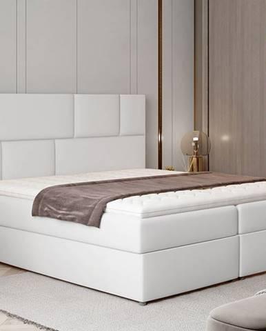 Ferine 165 čalúnená manželská posteľ s úložným priestorom biela