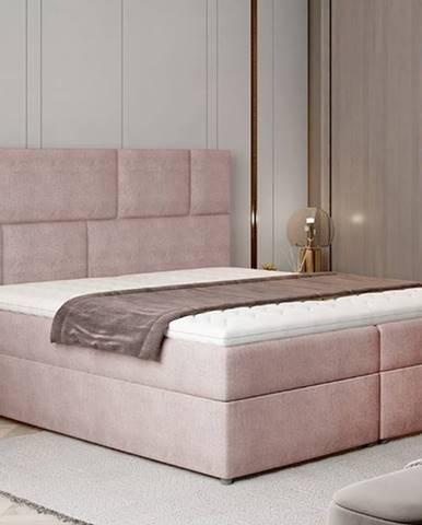 Ferine 185 čalúnená manželská posteľ s úložným priestorom ružová