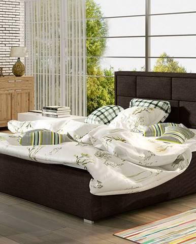 Liza UP 160 čalúnená manželská posteľ s roštom tmavohnedá (Sawana 26)