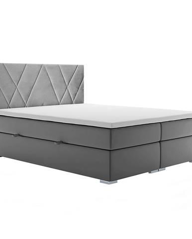 Ora čalúnená manželská posteľ s matracom sivá