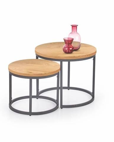 Oreo okrúhly konferenčný stolík (2 ks) dub zlatý