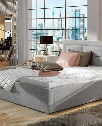 Rovigo UP 180 čalúnená manželská posteľ s roštom svetlosivá (Sawana 21)