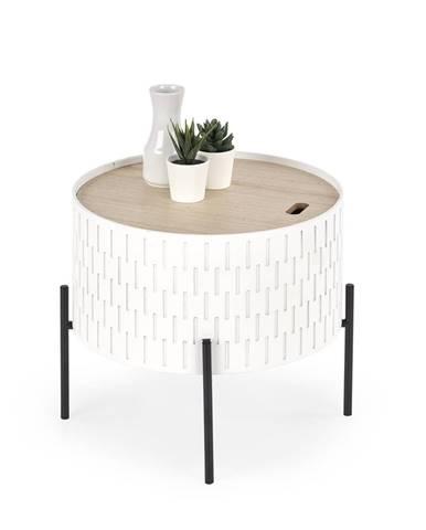 Sintra okrúhly konferenčný stolík s úložným priestorom biela