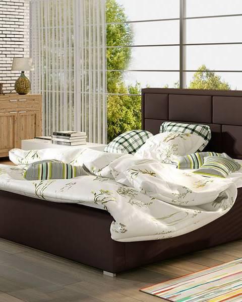 NABBI Liza UP 180 čalúnená manželská posteľ s roštom tmavohnedá (Soft 66)