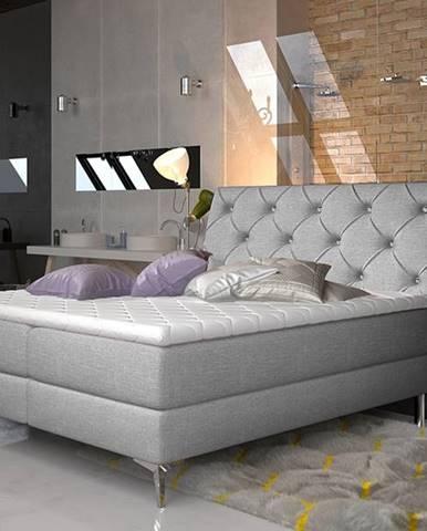 Amika 180 čalúnená manželská posteľ s úložným priestorom svetlosivá