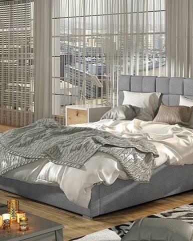 Galimo 200 čalúnená manželská posteľ s roštom svetlosivá