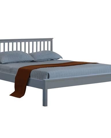 Mange manželská posteľ s roštom sivá