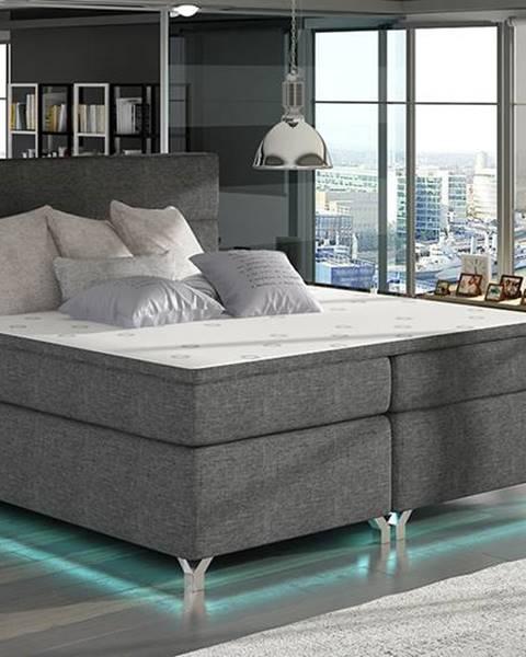 NABBI Avellino 180 čalúnená manželská posteľ s úložným priestorom sivá (Sawana 05)