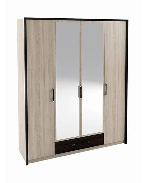 NABBI Seina W-4D štvordverová šatníková skriňa so zrkadlom dub sonoma