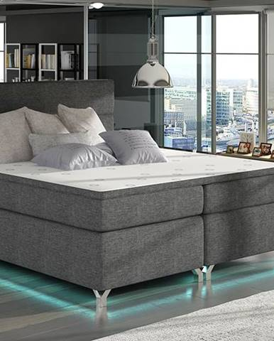 Avellino 180 čalúnená manželská posteľ s úložným priestorom sivá (Sawana 05)