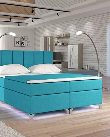 Barino 160 čalúnená manželská posteľ s úložným priestorom svetlomodrá