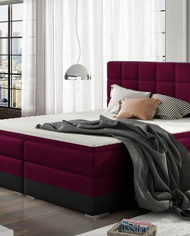 Dalino 140 čalúnená manželská posteľ s úložným priestorom vínová