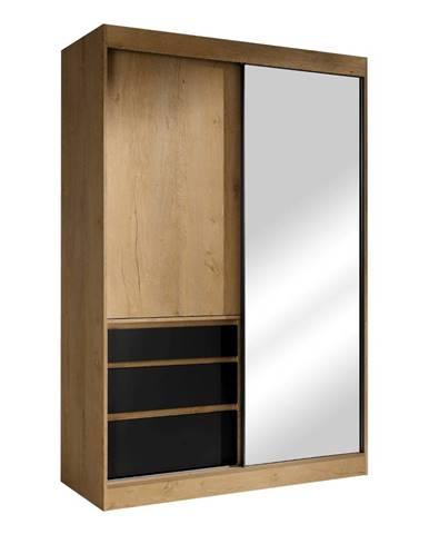 Romualda 140 šatníková skriňa s posuvnými dverami a zrkadlom dub lefkas