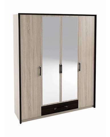Seina W-4D štvordverová šatníková skriňa so zrkadlom dub sonoma