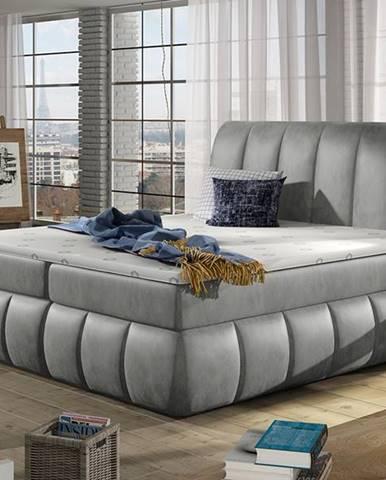Vareso 140 čalúnená manželská posteľ s úložným priestorom svetlosivá (Monolith 84)