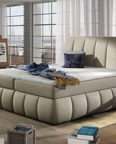 Vareso 180 čalúnená manželská posteľ s úložným priestorom svetlohnedá (Orinoco 22)