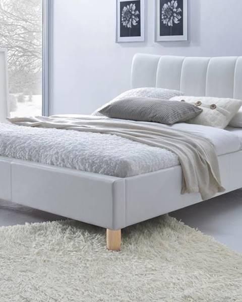 Halmar Sandy 160 čalúnená manželská posteľ s roštom biela