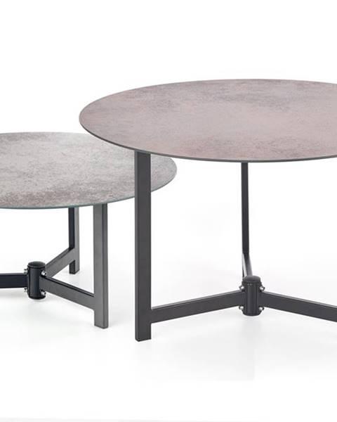 Halmar Twins okrúhly konferenčný stolík (2 ks) hnedosivá
