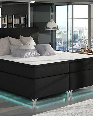 Avellino 180 čalúnená manželská posteľ s úložným priestorom čierna (Sawana 14)