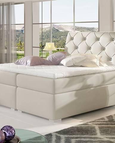 Beneto 140 čalúnená manželská posteľ s úložným priestorom béžová