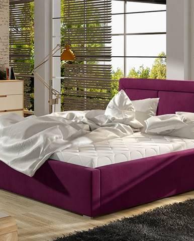 Branco 180 čalúnená manželská posteľ s roštom vínová