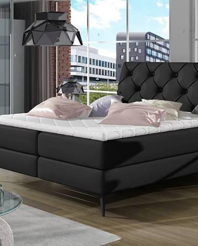 Lazio 140 čalúnená manželská posteľ s úložným priestorom čierna (Soft 11)