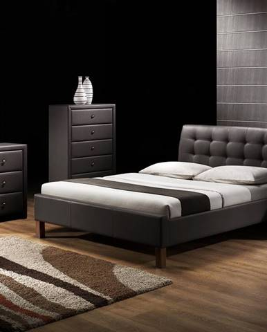 Samara 160 čalúnená manželská posteľ s roštom čierna