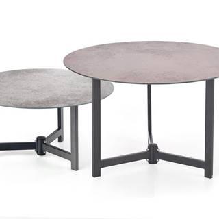 Twins okrúhly konferenčný stolík (2 ks) hnedosivá